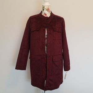 NWT Bonded Faux Suede Retro Coat